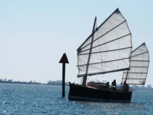 Homemade boat on Galveston Bay